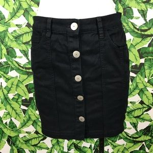 BCBGENERATION Black Button Front Mini Skirt